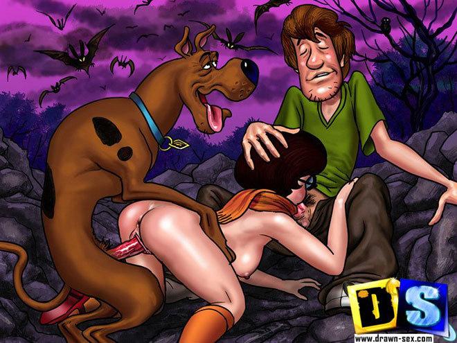 Эротическая картинка, эротический рисунок секса с мультяшной собакой. Скуб